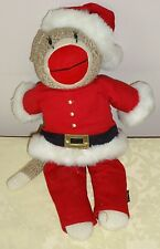 "Old Navy SANTA CLAUS SOCK MONKEY 14"" stuffed plush Christmas"