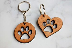 Wooden Paw Keyring, Dog Paw, Dog Lover Gift, Pet Keyring, Cat Lover Gift