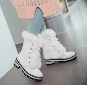 Womens Fur Trim Lace Up Ankle Boots Mid Block Heels Round Toe Warm Casual Shoes