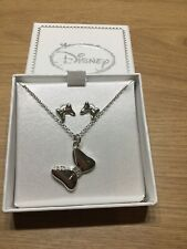 More details for genuine licensed disney minnie mouse necklace earrings silver look boxed gift