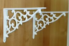 "2 WHITE ANTIQUE-STYLE 7"" CAST IRON SHELF BRACKETS braces garden rustic CLASSIC"