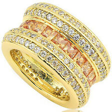 Created Yellow & White Sapphire Ring in18K Yellow Gold Over Sterling Silver