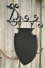 Antique style wrought iron hanging shop sign house name plaque board bracket