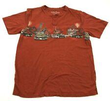North River Shirt Size Medium Orange Henley Tee Short Sleeve Adult Classic Cars