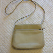GIANI BERNINI Bone White Leather Cross body Shoulder Messenger Bag Handbag Purse