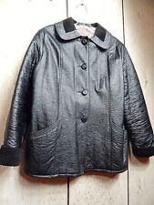 Vintage 1960s Fingerhut Black Vegan? Fake? Leather Winter Car Coat Teddy Girl