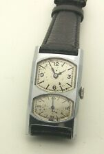 Unusual Large 2 Crystal Vintage 1940's Chrome Gallet Double Dial Doctor's Watch