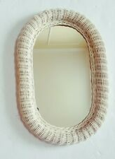 """White Wicker Oval Wall Mirror 18 """" X 12"""" Shabby Chic Vintage Look"""