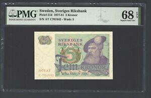 Sweden 5 Kronor 1978  P51d Uncirculated Graded 68 Top Pop