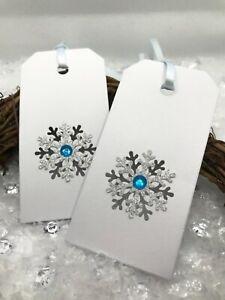 8 Elegant Snowflake Frozen Gift Tags - Gold, Pink, Silver & Blue, Snow White
