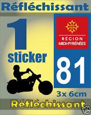 1 Sticker REFLECHISSANT département 81 rétro-réfléchissant immatriculation MOTO