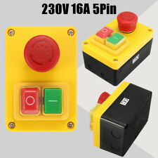 230V 16A 5 Pin NVR Switch Emergency Stop Push Button ON/OFF for Lathe Mill drill
