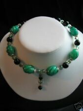 Black & Green Beaded Memory CHOKER with Center Dangle