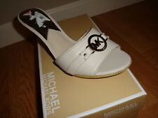NIB NEW Women Michael Kors Tilly Mule Leather Sandals MK Silver Logo VANILLA 7