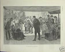 GRAVURE PAQUEBOT STEAMER EVENTAIL  1884