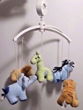 Pottery Barn Kids Baby Nursery Crib Mobile Zoo Animals Plush with patches RARE