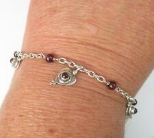 "925 Sterling Silver Bracelet Doug Paulus Dp India Hearts Cerise Stones 7.5"" 8.9g"