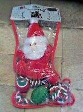 Christmas Holiday 4 Piece Holiday Stocking for Dogs, Rope Toys & Stuffed Santa