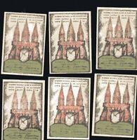 6x 50 Pfennig Notgeld HAMBURG ALTONA 1921 div Werte u. Motive ungebraucht top