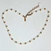 Vintage signed Monet bamboo form white lucite gold tone beads necklace, as is