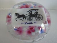 "Degenhart Glass Horse & Buggy ""PAUL"" Pictoral PAPERWEIGHT Name Plaque  Frit"
