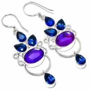 """Purple Fire Mystic Topaz, Sapphire Silver Fashion Jewelry Earring 2.7"""" SE8759"""