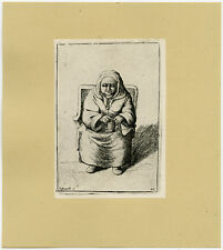 Antique Print-GENRE-KNITTING-WOMAN-42-Deuchar-ca. 1780