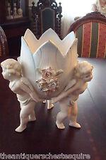 German Bisque Centerpiece bowl held by three angels, exquisite delicate work[2]