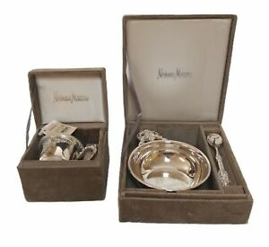 New Vintage Neiman Marcus Child's Silver-plate Dish Set In Box W/Tags Baby Gift