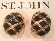 ST JOHN COLLECTION..DESIGNER JEWELRY..EARRINGS..BLACK..RHINESTONES/GOLD TONE