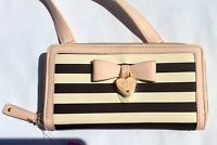 Authentic Betsey Johnson Stripe Crossbody Handbag Purse Dangle Enamel Heart New