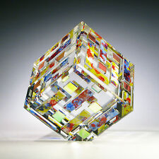 """OAK Optic Crystal Dichroic Glass Magnum Paperweight """"VOLCANO"""" by Ray Lapsys"""