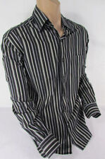 Ermenegildo Zegna Men Black White Green Stripes Dressy Shirt Long Sleeves Large
