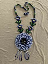 Huichol Wixarika (Mexican) Handmade Jewelry Necklace and Earrings (New).