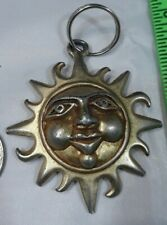 Vintage Sun with Face Keychain Gold Tone Metal
