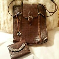 VNTG Brighton Collection Brown Croc Leather Braided Strap Shoulder Bag & Wallet
