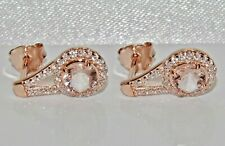 9ct Rose Gold on Silver Morganite Halo Cluster Dropper Stud Earrings