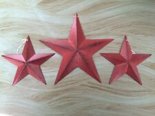"Set of 3/ BURGUNDY BLACK BARN STARS 8""/5.5"" PRIMITIVE RUSTIC COUNTRY ANTIQUE"