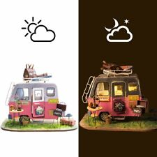 NEW IN BOX ROBOTIME Rolife DIY Miniature House Kit Happy Camper with LED