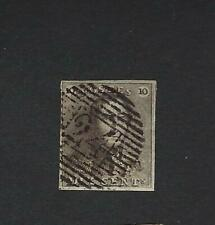 België Belgique n° 1 Epaulette oblitérée 10c brun  1849  4 marges nettes !