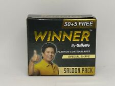 50 Gillette Winner Razor Blade Double Edge Safety Razor Shaving Platinum Coated