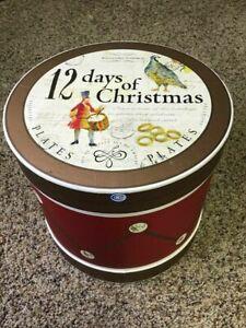 Williams-Sonoma 12 Days of Christmas Dessert Plates in Drum Box 2008