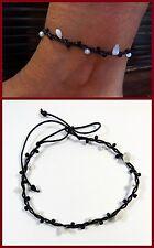 Fußkette Schmuck Fußbändchen Schwarz Perlen Muscheln verstellbar Wasserfest NEU