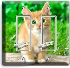 CUTE GREEN EYES KITTEN KITTY CAT DOUBLE GFI LIGHT SWITCH WALL PLATE COVER DECOR