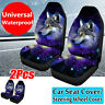 Pair Universal Car Front Seat Covers Fiber Back Protect Wolf Pattern Van Truck