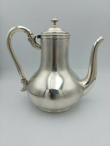 Rare antique French coffee pot solid silver Odiot Paris  acanthus c.1890 401 g