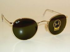 New RAY BAN Sunglasses ROUND METAL RB 3447 001 Gold Frame G-15 Glass Lenses 53mm