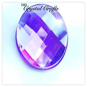 6 x 40mm XL Purple Lilac Violet Oval Cabochon Gems Rhinestones Flat Backs #L17