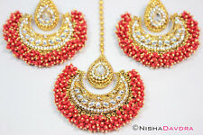 Big Red Tikka Earrings Set Bellydancer Bollywood India