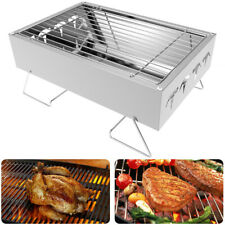 Mini Portable Stainless Steel BBQ Barbecue Grill Charcoal Outdoor Garden Folding